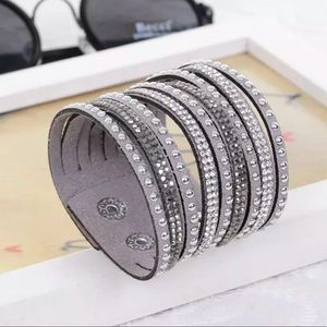 Jewelry - ✨ • G r a y Crystal Vegan Leather Bracelet • ✨